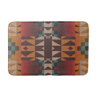 Orange Brown Red Teal Blue Tribal Mosaic Pattern Bath Mat
