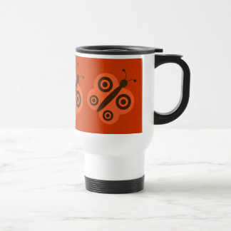 Orange & brown retro butterflies travel mug