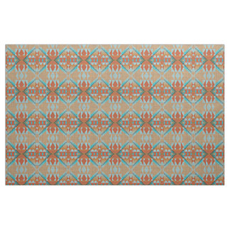 Orange Brown Turquoise Blue Eclectic Ethnic Look Fabric