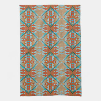 Orange Brown Turquoise Blue Eclectic Ethnic Look Kitchen Towel
