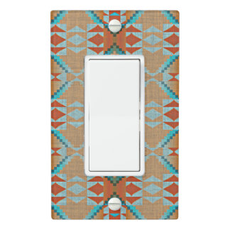 Orange Brown Turquoise Blue Eclectic Ethnic Look Light Switch Cover