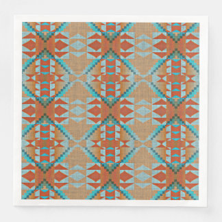Orange Brown Turquoise Blue Eclectic Ethnic Look Paper Dinner Napkin