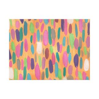 Orange Brushstrokes Abstract Canvas Art Print