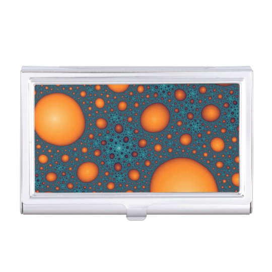 Orange bubbles. Abstract pattern. Business Card Holder