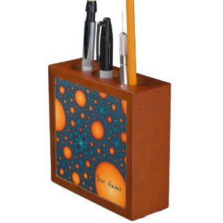 Orange bubbles. Add your name or custom text. Desk Organizer