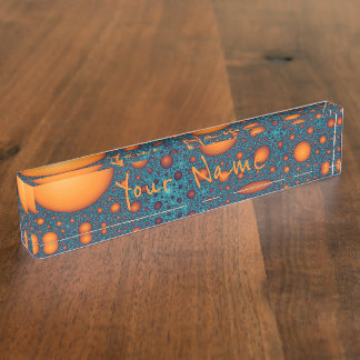 Orange bubbles. Add your name or custom text. Name Plate
