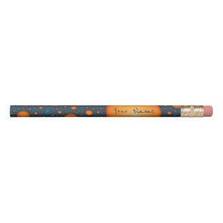 Orange bubbles. Add your name or custom text. Pencil