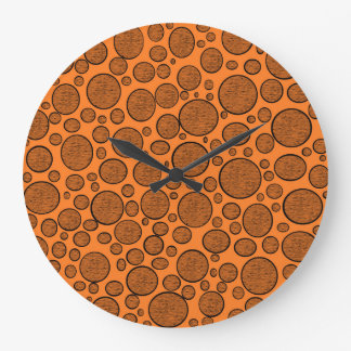 Orange Bubbles Dark Large Clock