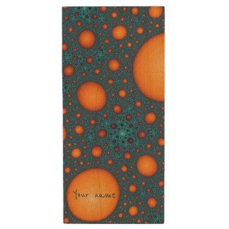 Orange bubbles wood USB flash drive