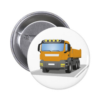 orange building sites truck 2 inch round button