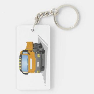 orange building sites truck Double-Sided rectangular acrylic keychain