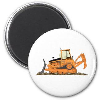 Orange Bulldozer 2 Inch Round Magnet