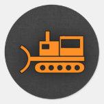 Orange Bulldozer Round Sticker