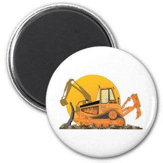 Orange Bulldozer Sun 2 Inch Round Magnet