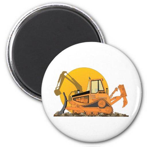 Orange Bulldozer Sun Fridge Magnets