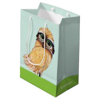 Orange Burrowing Owl Art Medium Gift Bag