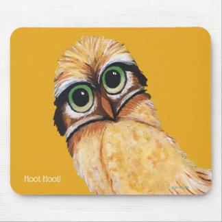 Orange Burrowing Owl Coastal Art Mouse Pad