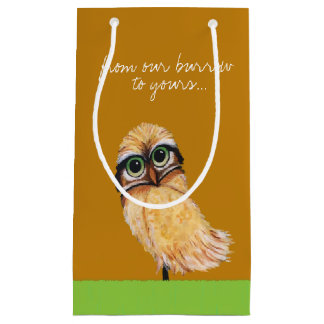 Orange Burrowing Owl Coastal Art Small Gift Bag