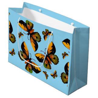 Orange Butterfles Blue Sky Large Gift Bag