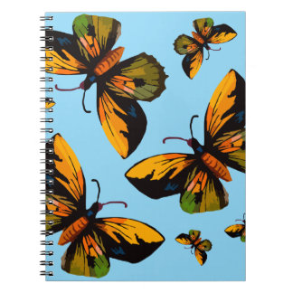 Orange Butterfles Blue Sky Spiral Notebook
