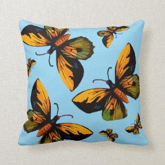 Orange Butterfles Blue Sky Throw Pillow