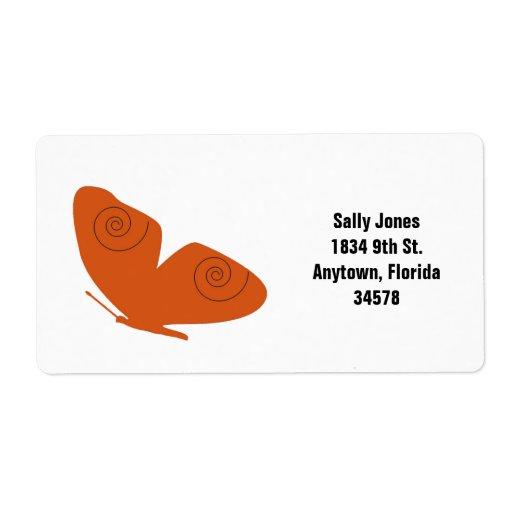 Orange butterfly, address label