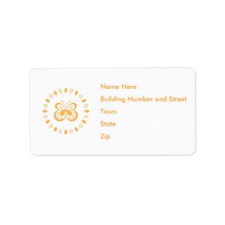 Orange Butterfly Design Custom Address Label