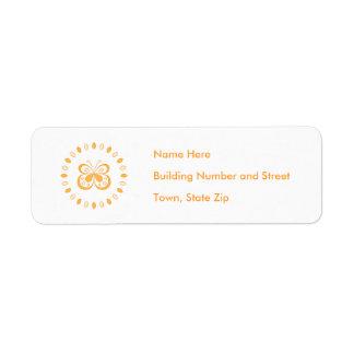 Orange Butterfly Design Return Address Label