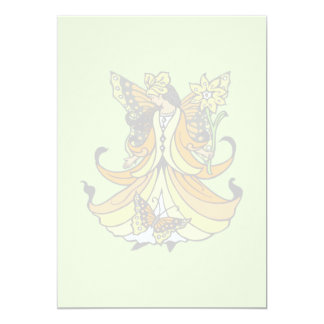 """Orange Butterfly Fairy With Flowing Dress 5"""" X 7"""" Invitation Card"""