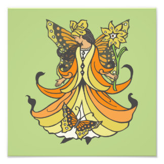 Orange Butterfly Fairy With Flowing Dress Photographic Print