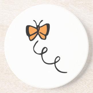 Orange Butterfly Flight Beverage Coasters