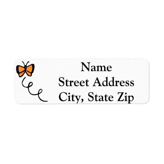 Orange Butterfly Flight Return Address Label