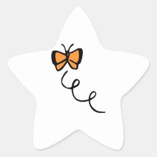 Orange Butterfly Flight Star Stickers