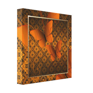 Orange Butterfly Kisses Decor Canvas Print