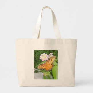 orange butterfly large tote bag