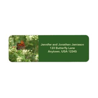 Orange Butterfly Return Address Labels