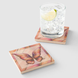 Orange Butterfly Stone Coaster
