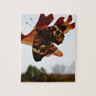 orange Butterfly  with blue spots Jigsaw Puzzle