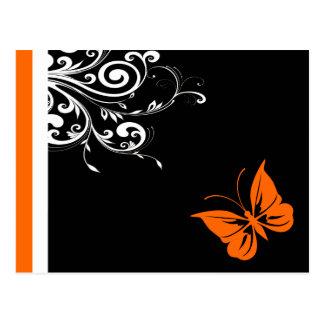 Orange Butterly Swirls Postcard