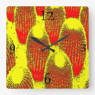 Orange Cacti Wall Clock