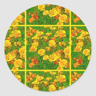 Orange California Poppies 2.2.2.g Classic Round Sticker