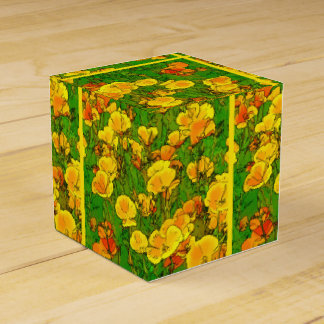 Orange California Poppies 2.2.2.g Favor Box