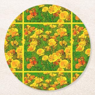 Orange California Poppies 2.2.2.g Round Paper Coaster