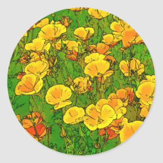 Orange California Poppies 2.2 Classic Round Sticker
