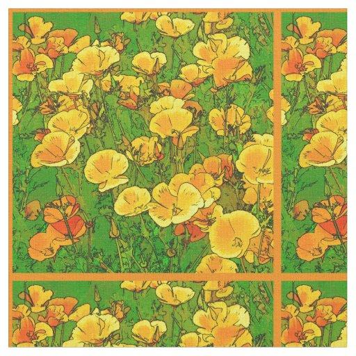 Orange California Poppies 2.2.o Fabric