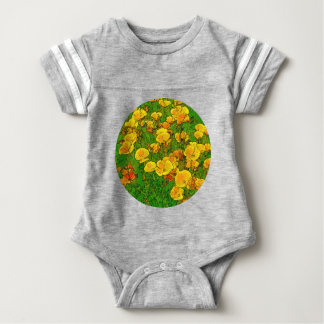 Orange California Poppies 2.2_rd Baby Bodysuit