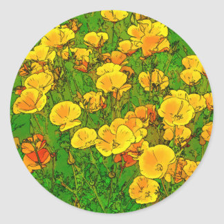 Orange California Poppies 2.2_rd Classic Round Sticker