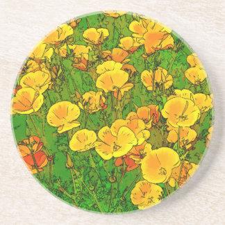 Orange California Poppies 2.2_rd Coaster