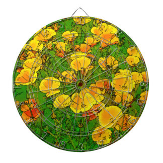 Orange California Poppies 2.2_rd Dartboard