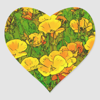 Orange California Poppies 2.2_rd Heart Sticker